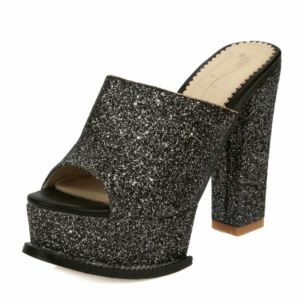 KARINLUNA Büyük Boy 32-42 Yenİ Katır Kare Yüksek Topuklu Ayakkabı Bling platform ayakkabılar Kadın Rahat Parti Moda Yaz Pompaları siyah