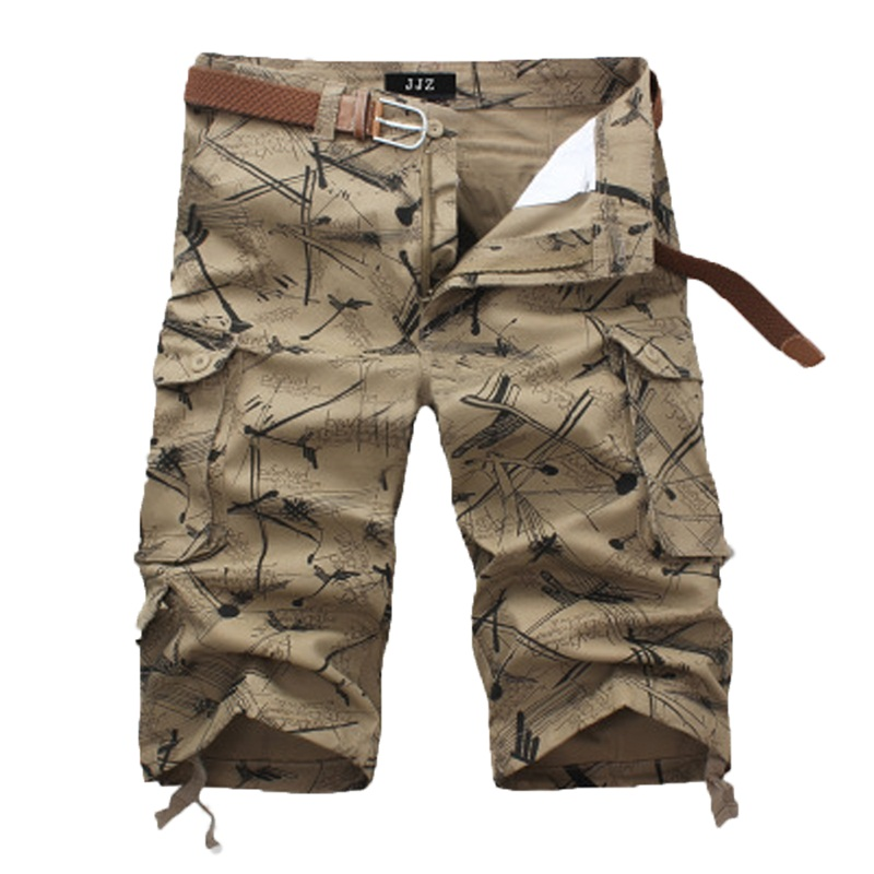 Casual summer pirate print shorts men camo cargo Straight Brand male shorts with Big pockets army green Khaki Beige short pants