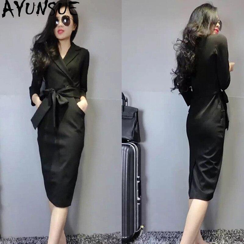 Gentle Spring Autumn Dress For Women Vintage Office Black Dress Women Clothes 2019 Ladies Dresses Korean Dress Elegant Vestidos My2325 Dresses