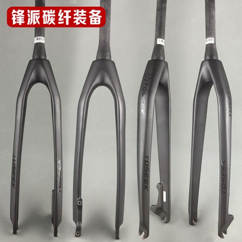 ФОТО TOSEEK Carbon fiber bike fork Tapered Rigid Bicycle Fork mtb bike disc brake  26/27.5/ 29 ER inch black bicicleta accessories