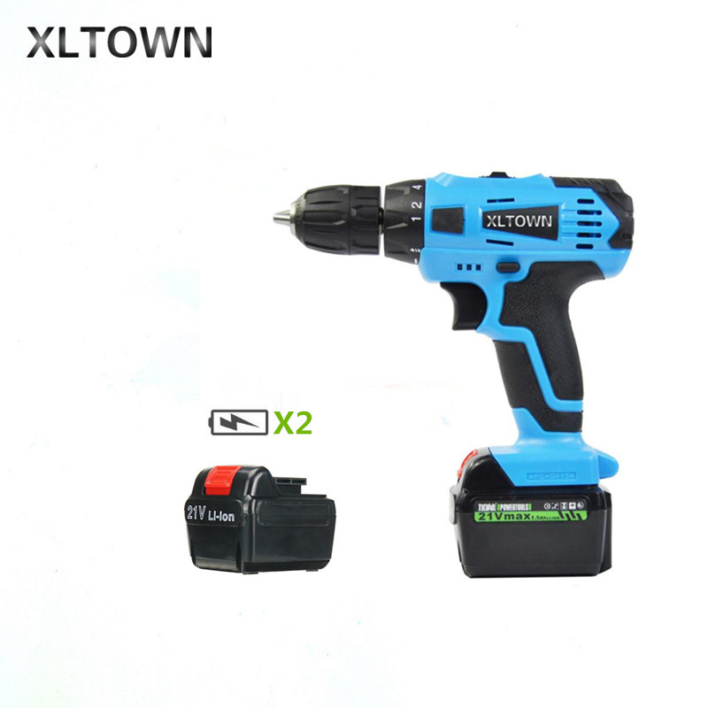 XLTOWN 21v Electric Screwdriver With 2 battery Multifunction Rechargeable Lithium Drill Household Cordless Drill Power Tools комплект ковриков в салон автомобиля novline autofamily kia picanto 3d 2011 цвет черный