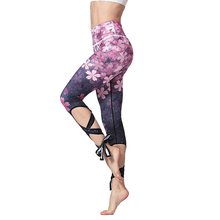 Floral Printed Belly Dance Pants High Waist Yoga Tights Tie Up Leggings Plus Size Strappy Fit Workout Capris plus size floral leggings