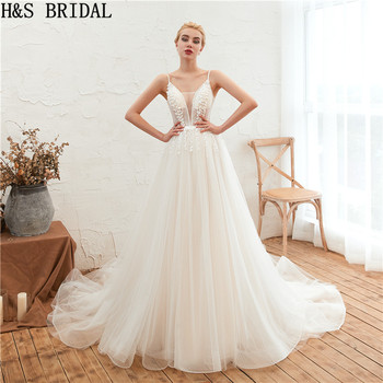 H&S BRIDAL Lace Sexy boho wedding dress Simple Wedding Gown With Spaghetti Straps Lace Applique Beading Beach Bridal Dress 2019