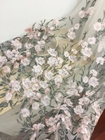 One Yard Floral Embroidery Lace Fabric With Pink And Grey Flower Bridal Wedding Gown Dress Fabric