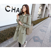 casual Women trench coat 2018 fashion Windbreaker female bf Korean khaki green long loose women's clothing outerwear