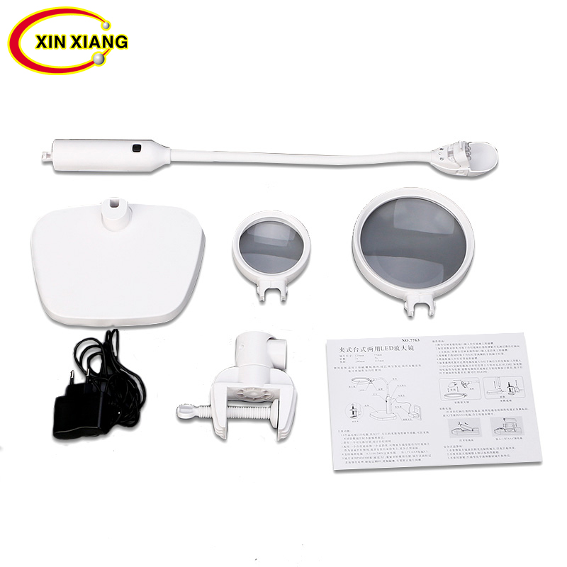 6 LED 2X Reading Magnifier With Illumination Table Magnifier 5X Magnifying Glass Desktop Clip Jewelry Loupe Lamp Free Shipping free shipping x3 x6 card led magnifier with led light leather case magnifying glass ultra thin portable square loupe