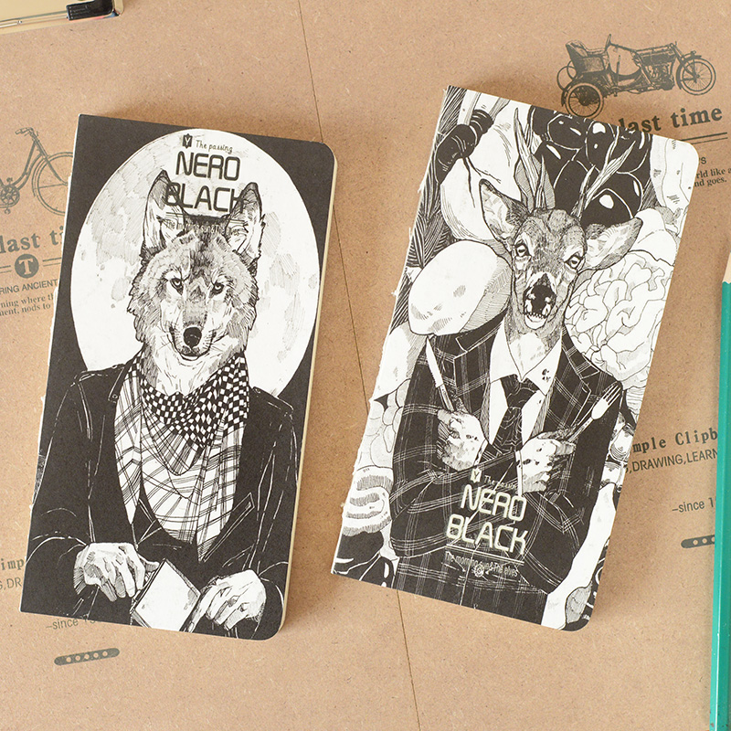 Cool Book Cover Drawings : Nero black punk style cool animal cover notebook h k