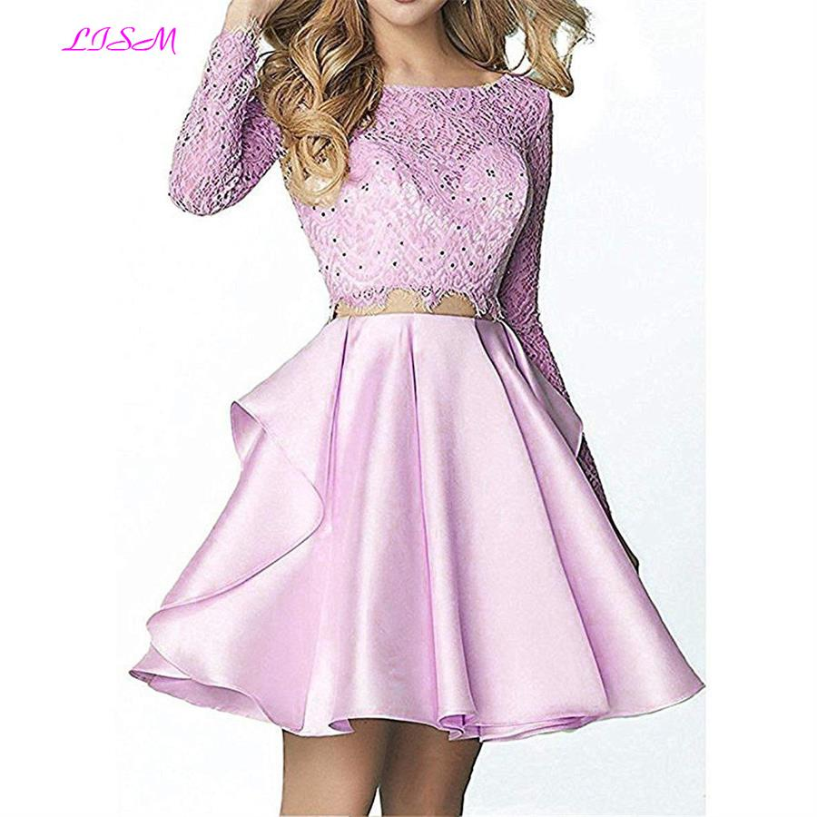 Vestido Curto Two Piece Long Sleeve Lace Satin Homecoming Dresses