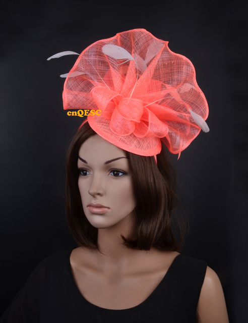 Coral pink ivory Large feather fascinator sinamay fascinator formal hat  kentucky derby a2ecdd32bfda