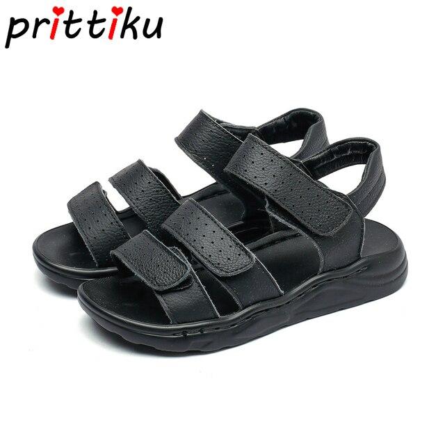dd91105f622a9 Été 2019 enfant en bas âge garçon en cuir véritable sandales de plage petit  enfant noir
