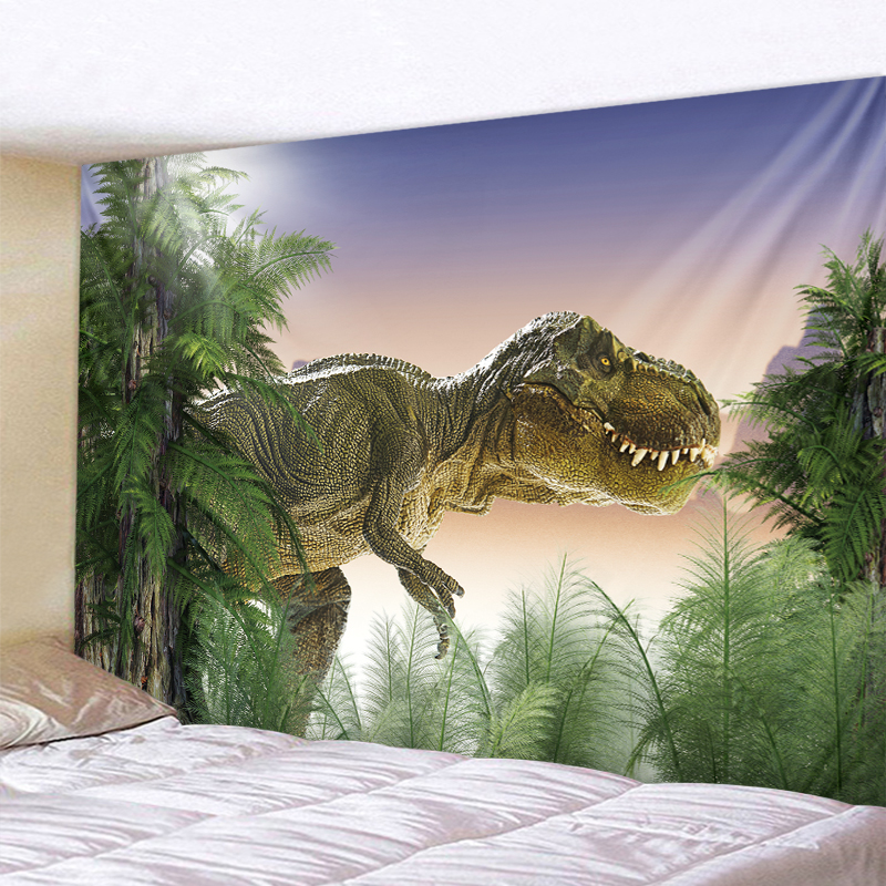 Green Plant Dinosaur Wall Hanging Tapestry Sheets Home Decorative Tapestries Beach Towel Yoga Mat Blanket  Tapestr