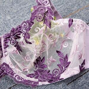 Image 4 - 女性のブラジャーフルカバレッジアンダーレース花刺繍裏地なしブラジャーランジェリー女性のための 34 36 38 40 c d dd ddd f グラム
