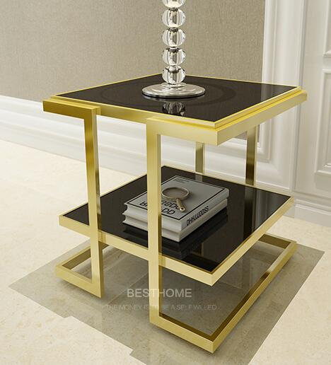 Free shipping Golden stainless steel Angle of a few. Gold-plated glass Angle of a few small tea table is square
