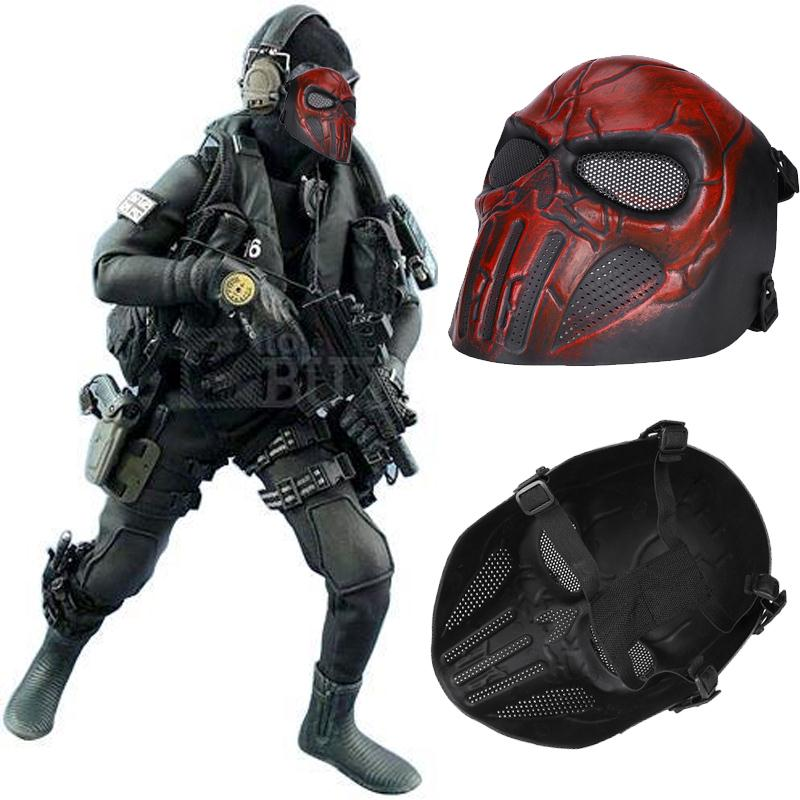 Tactical Full Face Paint Ball Skull Mesh Safety Protection Mask Goggles Outdoor Ak 47