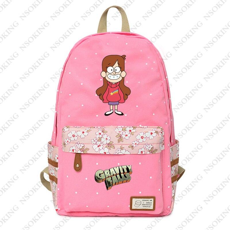 ca40c176debe Новый Гравити Фолз рюкзак аниме милые девушки студент школы холст цветочный  принт сумка Дамская Мода Популярные