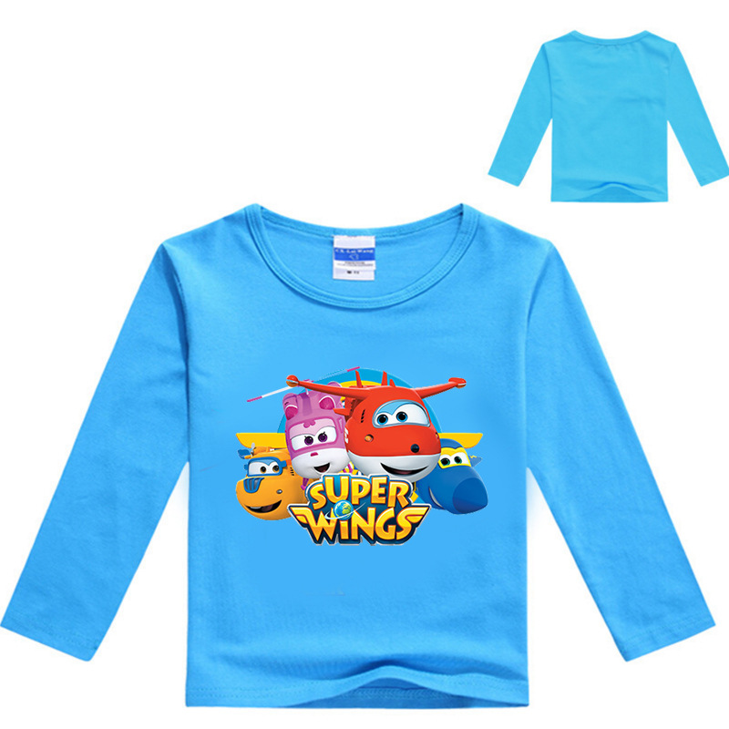Z&Y 3-16Years Spring Girl Clothes Super Wings Clothing Boys Long Sleeve Tops T-shirt Fille Boys Sweatshirts Infant Shirts 7187