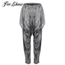 Pantalones de Jazz para las mujeres brillante Hip Hop Dance Party Clubwear Harem  pantalones Super ligero estilo Harem 8482dad1108