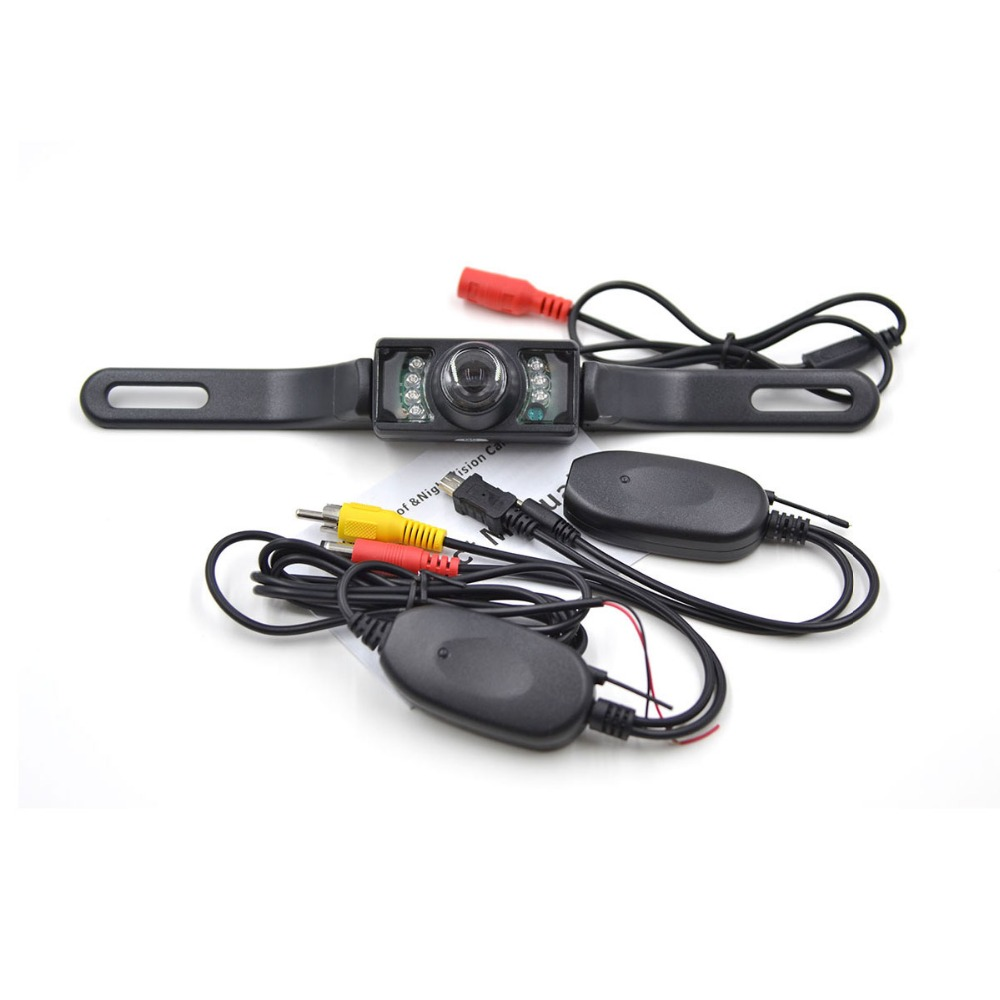 Universal Vattentät Trådlös bil Bakifrån Kamerans vidvinkel Backup Omvänd kamera Natt Vision Licensplatta Parkeringskamera