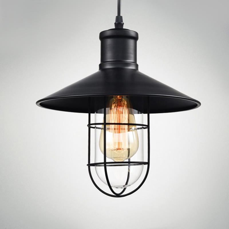 Vintage iron pendant light industrial loft lamps e27 cage warehouse lamp hanging lights fixture with glass guard bar cafe hotel in pendant lights from