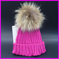 2016 Winter Womens Hats Knit Beanie Raccoon Fur pompom Bobble Hat Crochet Ski Cap For Ladies