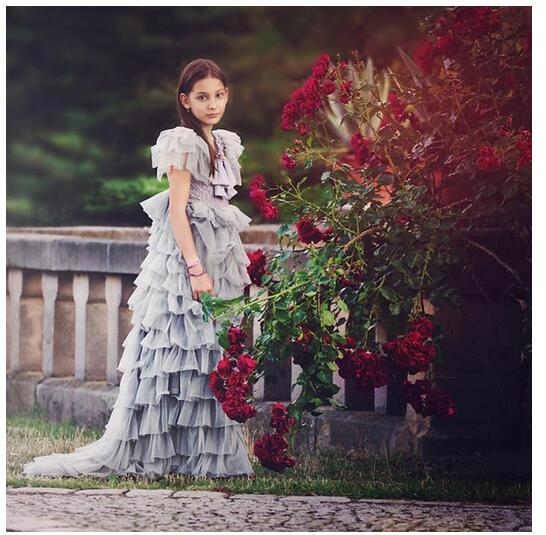 Girl's Formal Dress 2017 Girls Princess Dresses Floor Length Kids Lace Tiered Gauze Party Ball Gowns Children's Wedding Dresses floor length plus size lace formal dress