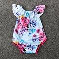 2017 Floral Bodysuits Macacão de Bebê Recém-nascido de Algodão Flor Do Vintage Menina Sunsuit Bodysuit Roupas Rendas Verão Do Bebê Roupas de Menina