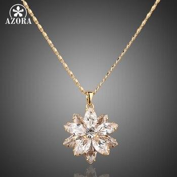de0e42fe7699 AZORA de cuero Sunflow de oro de diseño de Color oro Stellux cristal  austriaco pavimentado colgante collar TN0003