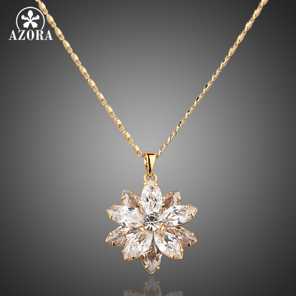 AZORA Sunflow Design Gold Color Gold Stellux Austrian Crystals Paved Pendant Necklace TN0003
