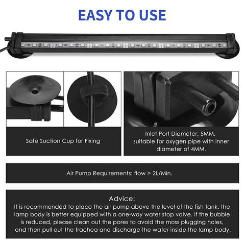 LED Aquarium Light IP68 Waterproof Fish Tank Lights Mutil-Color Air Bubble Dimmable Submersible Underwater Lights with Remote Multan