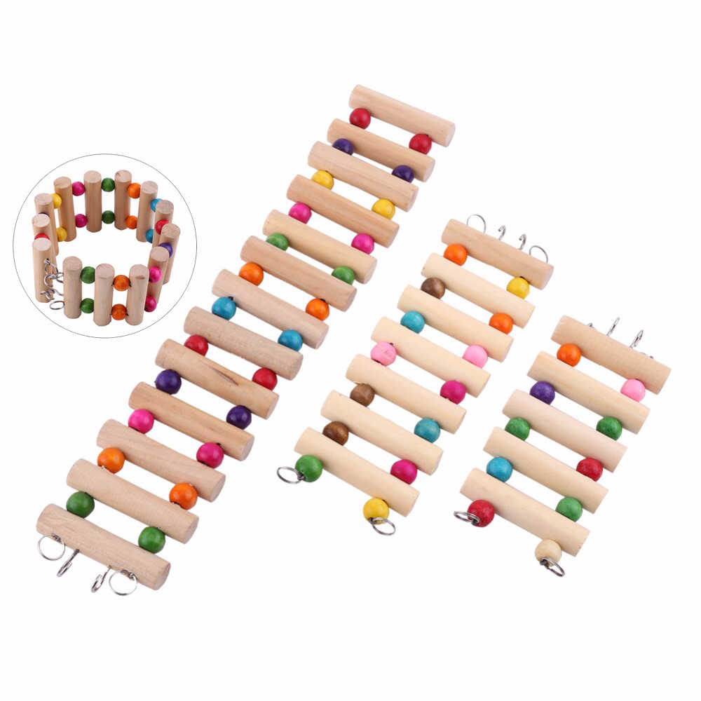 Birds Wooden Chew Toy Draw bridge Pet Hanging Toy Bird Animal Cage Accessories Hamsters Parrot Hanging Toys Round logs Ladders