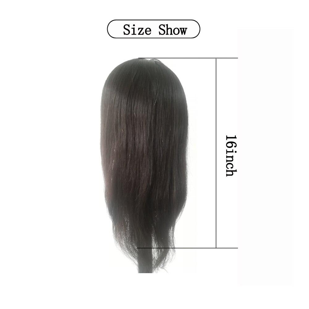 16inch Mannequin Head Straight 100% Human Hair Hairdresser Training Perm Bleaching Dyeing Haircut Manikin Cosmetology Doll Head
