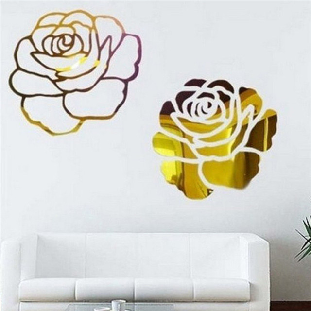1 set 2 flowers Roses Combination 3D Mirror Wall Stickers Home ...
