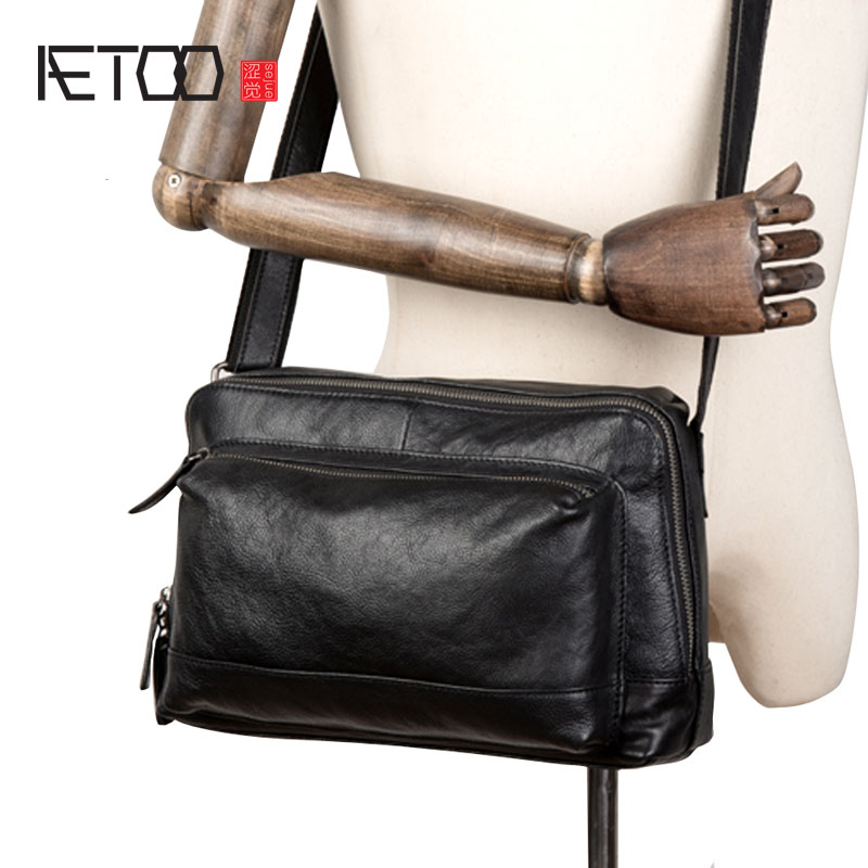 AETOO New simple head layer leather crossbody bag Casual men's leather crossbody bag shoulder bag crossbody bowler bag