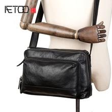 AETOO New simple head layer leather crossbody bag Casual men's leather crossbody bag shoulder bag цена