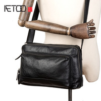AETOO New simple head layer leather crossbody bag Casual men's leather crossbody bag shoulder bag