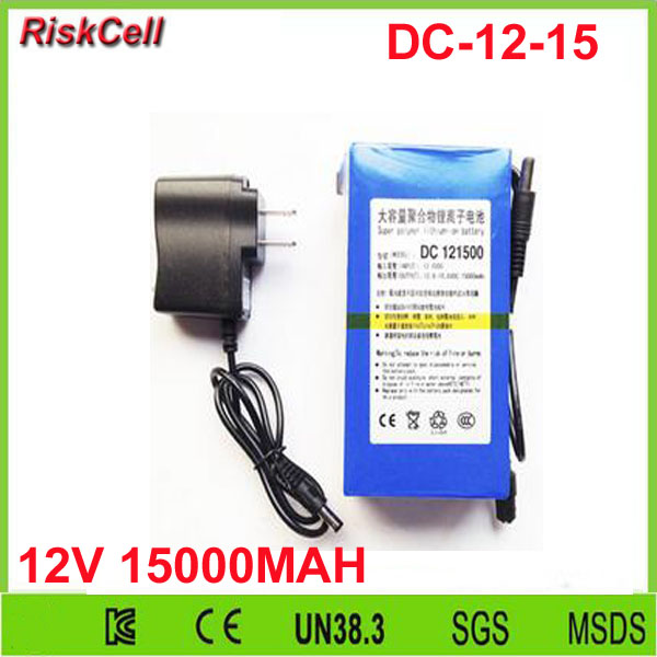 50pcs/lot DC 12V 15000Mah Battery Rechargeable Super Lithium-ion batteries with AC Charger for LED strips,CCTV Camera