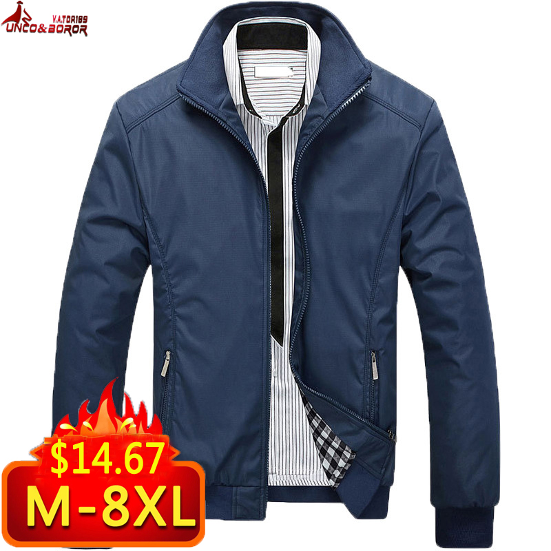 Autumn Winter Men Jacket Windbreaker Male Overcoat Casual Solid Color Jacket Slim Fit Men Windproof Jacket Coat Size 6XL 7XL 8XL