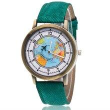 Модные брендовые кварцевые часы с рисунком в виде самолета, Мультяшные часы, женские повседневные винтажные кожаные Наручные часы для девочек, подарки