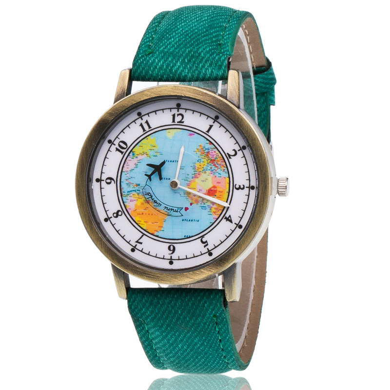 Fashion Brand Quartz Watches Aircraft Pattern Cartoon Watch Women Casual Vintage Leather Girls Kids Wristwatches Gifts Clock