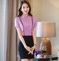 Формальное Фиолетовый Тонкий Работа Мода Костюмы С 2 Шт. Топы И Юбки Дамы Наряды Салон красоты Одежда Устанавливает Юбка Костюмы