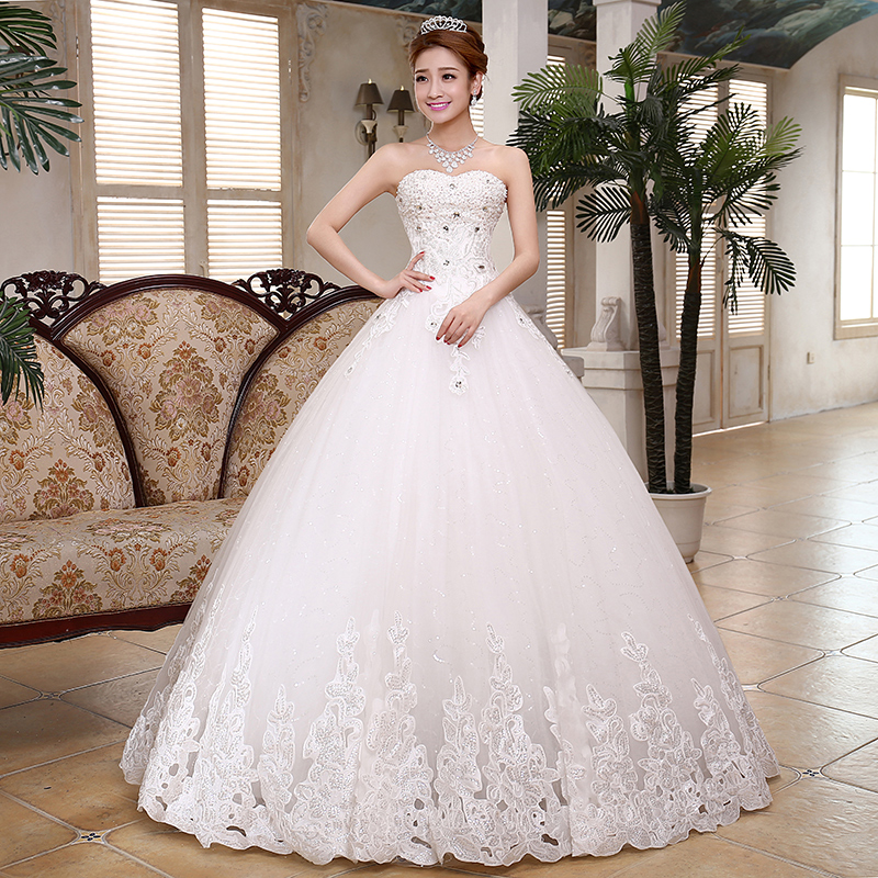 Girls Luxury Diamond Wedding Dress 2017 Modern Simple Wiping Lace Big Tuxedo Bridal Quality Vestido De Noiva Real Photo In Dresses From