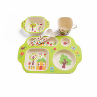 5Pcs/set Eco friendly Bamboo Fiber Baby Plate Dishes 4 Slots Children Tableware Dishes Dinnerware Creative Gift baby