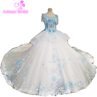 Wedding Dress With Blue Lace Flowers Online Store China Dress Noiva 2018 Wedding Dress Luxurious Bridal Custom Vestido De Noiva