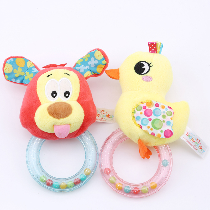 Funny Cute Baby Rattle Soft Cartoon Animal Plush Toy Apron Rattles Stuffed Hand Bell With BB Device Cute Infant Educational Toy