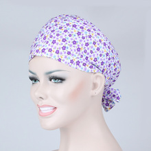 2016 New Purple Flowers Printing Operation Room Medical Surgical Cap Female Doctors/Nurses Scrub Scarf Hair Care Free Shopping