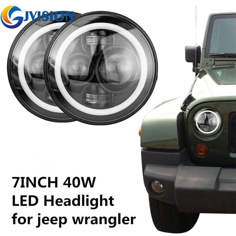 Black 7'' Motorcycle headlight 12 Volts led Auto headlamp for Jeep Wrangler JK Hummer Offroad 7 inch Round led Halo Angel eye пена монтажная foam a 750мл всесезонная