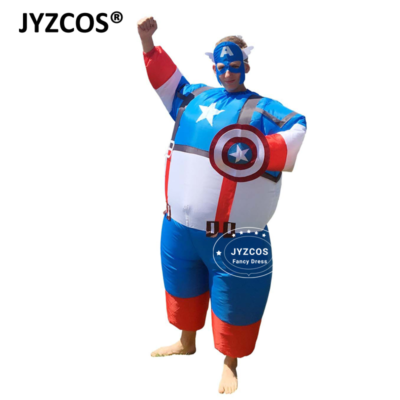 JYZCOS Adult Captain America Costume Carton Halloween Inflatable XMAS Suit Superhero Funny Cosplay Carnival Blowup Fancy Dress