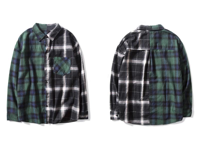 Vintage Contrast Color Block Plaid Shirt 2