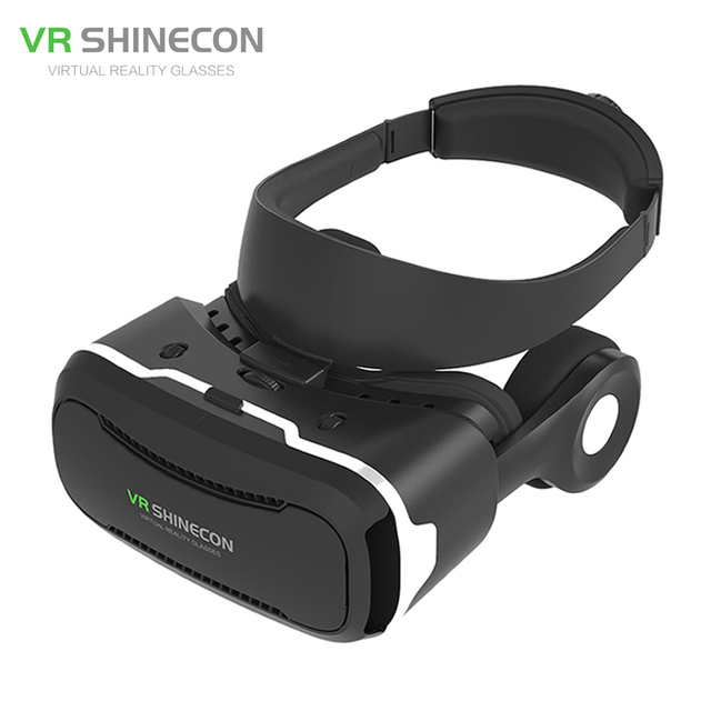 "Newest VR Shinecon IV 4.0 Virtual Reality 3D Movie Glasses Helmet Vrbox with Headphone/Mic for 4.0-5.5"" Smartphone PK BOBOVR Z4"