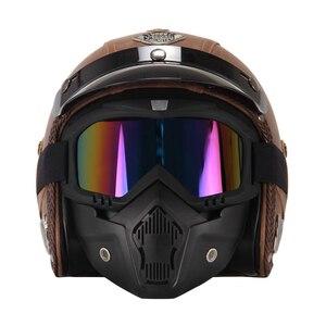 Image 2 - New Retro Vintage German Style Motorcycle Helmet 3/4 Open Face Helmet Scooter Chopper Cruiser Casco Moto Helmet Glasses Mask